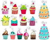 Cute retro cupcakes kümesi — Stok Vektör