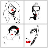 Set of beautiful hand drawn style elegant woman portraits — Cтоковый вектор