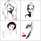 Uppsättning av vackra hand dras stil elegant kvinna porträtt — Stockvektor
