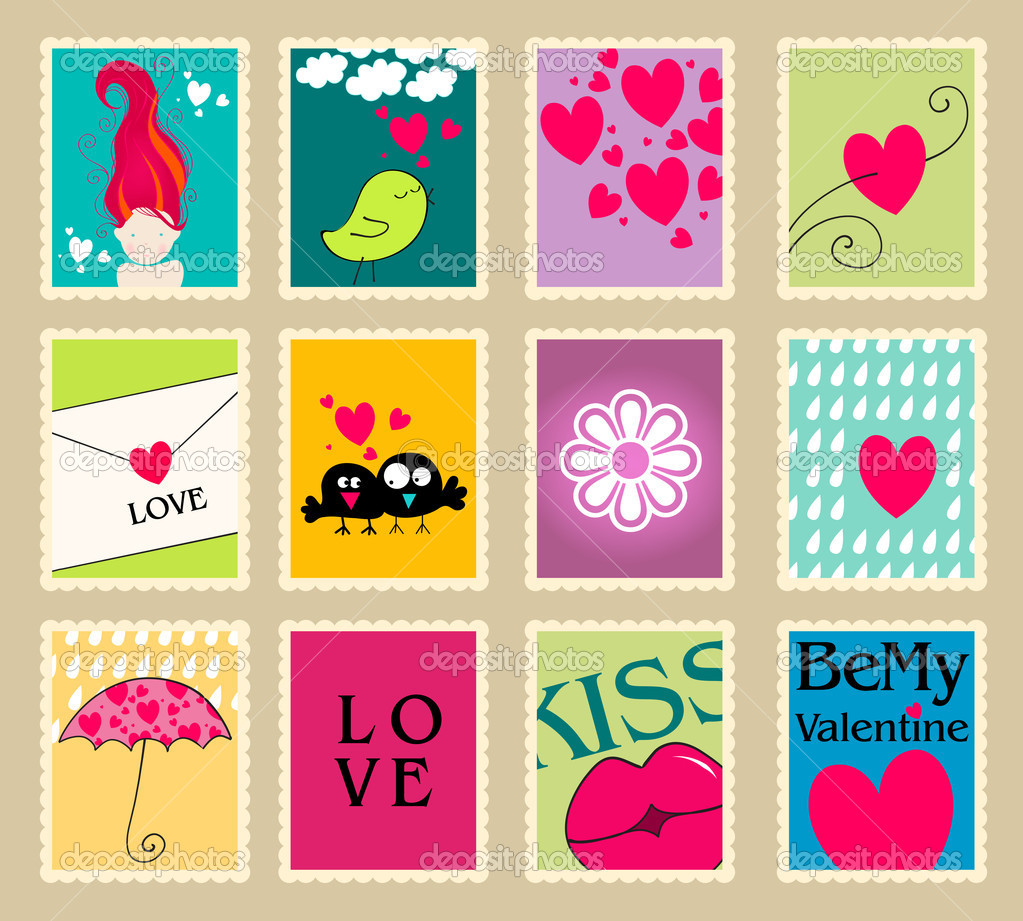 Vector set of cute, hand drawn style romantic post stamp illustrations for Valentine's Day — Stock Vector #8427465