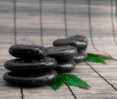 Black stone with leaf. massage stones — Stock Photo