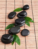 Zen stones and leaves with water drops. leaf and basalt stones — Stock Photo