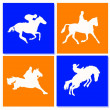 Horse riders silhouettes. Horse icons. — Stock Photo