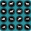 Horse riders silhouettes. Horse icons. - Stock Photo