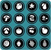 Groenten en fruit ingesteld. vruchten pictogrammen. — Stockfoto