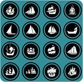 Ship icons. Icon set Boats — Stock Photo
