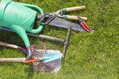 Used old garden tools background — Foto de Stock