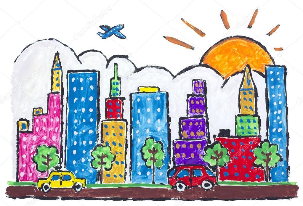 Как рисовать города для детей