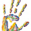 Stock Photo: Rainbow handprint isolated