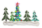 Border from Christmas fir trees — Stock Photo
