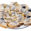 Norwegian herring sandwiches — Stockfoto
