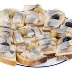 Norwegian herring sandwiches — Stock Photo
