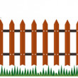 Stock Photo: Long fence from bricks