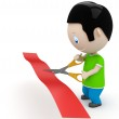 Unveiling! Social 3D characters: young man cutting red line with scissors. New constantly growing collection of expressive unique multiuse images. Concept for opening illustration. Isolated. — Stock Photo