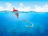 Float, fishing line and hook underwater vertical — Stock Photo