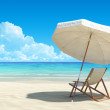 Beach chair and umbrella on idyllic tropical sand beach. No noise, clean, extremely detailed 3d render. Concept for rest, relaxation, holidays, spa, resort design. — Stock Photo