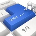 Man pressing blue ENTER key — Stock Photo #9596931
