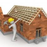 werknemers collectie - timmerman op dak hout — Stockfoto