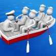 Stock Photo: Workers collection - Ship squad in lifeboat