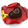 Heart chocolate (love, valentine day series, 3d isolated characters) - Stock Photo