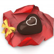 Stock Photo: Sweet chocolate heart unwrapped