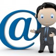 Mail me. Social 3D characters: businessman in suit pointing to the email sign. New constantly growing collection of expressive unique multiuse images. Concept for e-mail illustration — Stock Photo