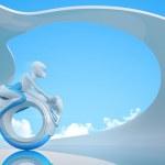 Biker riding futuristic mono wheel bike - Future collection — Stock Photo