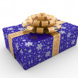 Stock Photo: Blue gift box fancy bow (gold stripe with stars on blue packaging paper)