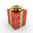 Red gift box (gold stripe bow with stars on red packing paper) — Stock Photo