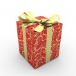 Red gift box fancy bow (gold stripe with stars on red packaging paper) — Stock Photo #9599625