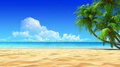 Handpalmen op lege idyllische tropische zand strand. geen lawaai, schoon, zeer gedetailleerd 3d render. concept voor rust, vakantie, resort, wellness ontwerp of achtergrond. — Stockfoto