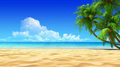 Palmas en playa tropical idílica vacía. ruido, limpio, extremadamente no detallada render 3d. concepto para descanso, vacaciones, resort, spa diseño o fondo. — Foto de Stock