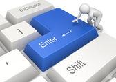 Man pressing blue ENTER key — Stock Photo