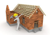 Workers collection - Carpenter on roof timber — Stock Photo