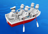Workers collection - Ship squad in lifeboat — Stock Photo