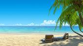 Iki sandalye plaj pastoral tropikal beyaz kum plajı üzerinde. palmiye ağaçlarının gölgesinden. gürültü, temizlik, 3d render son derece detaylı. tatil, spa, resort tasarım konsepti. — Stok fotoğraf