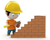 Under construction! Social 3D characters: man using trowel to place the brick. New constantly growing collection of expressive unique multiuse images. Concept for construction process illustrat — Stock Photo