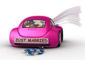 生活方式收集-刚结婚在车里 — 图库照片