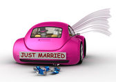 Lifestyle collection - Just married in the car — Stock Photo