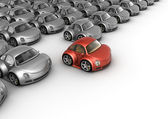 Special red car in front of many grey cars — Stok fotoğraf