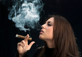 Miss Sexy Cigar Smoker — Stock Photo