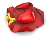 Unwrapped heart gift (love, valentine day series, 3d isolated characters) — Stock Photo