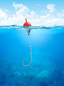 Float, fishing line and hook underwater — Stock Photo