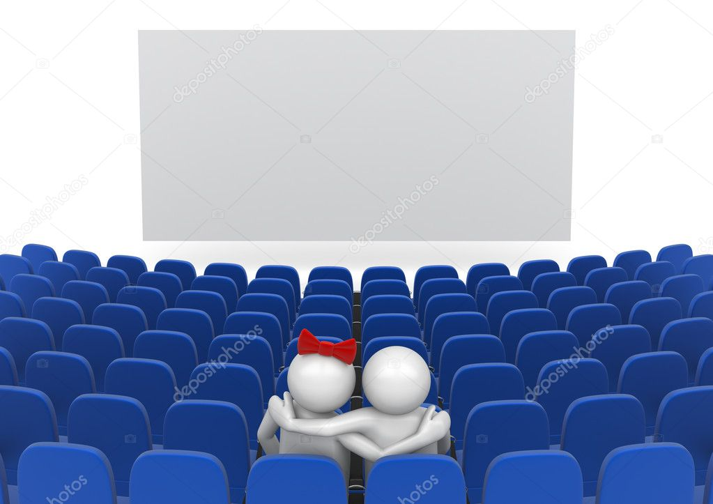Date in cinema (love, valentine day series, 3d isolated characters  Stock Photo #9598154