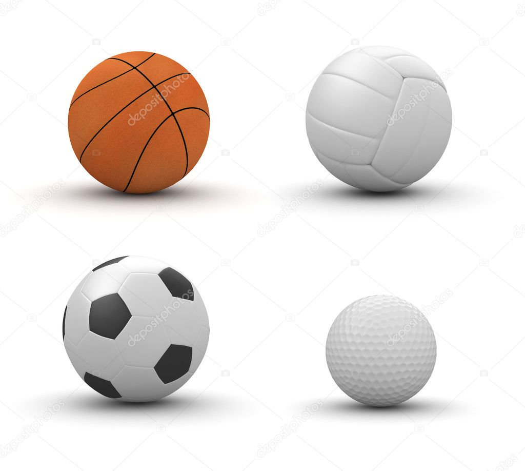 Four sport balls isolated: basketball, volleyball, football, golf (3d isolated on white background objects series)  Stock Photo #9598697