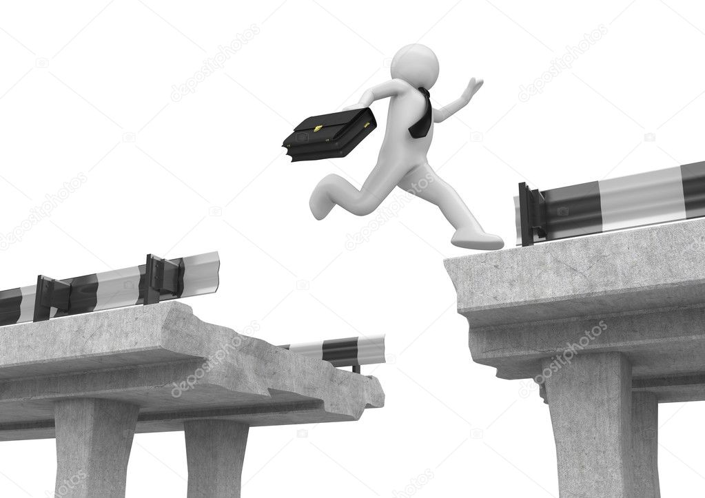 Businessman jumping over the road gap stock photo for Jump the gap