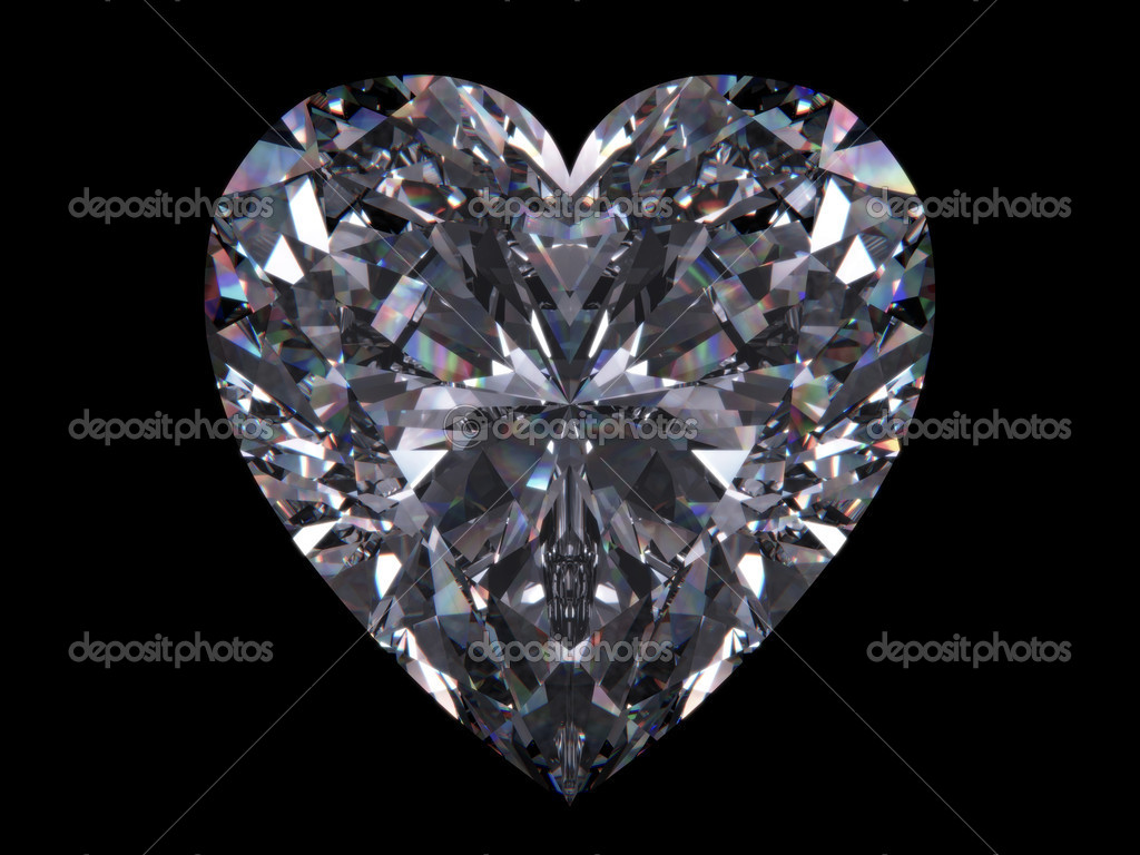 Diamond heart (love, valentine day series, 3d isolated objects) — Stock Photo #9599233