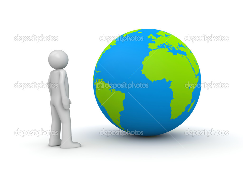 Man looking at planet Earth - globe (3d isolated characters on white background series)  Stock Photo #9599383