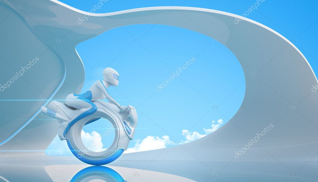 Biker riding futuristic mono wheel bike - Future collection  Stock Photo #9599541