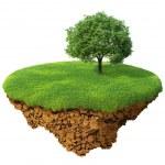 wenig schöne Insel - Planet. ein Stück Land in der Luft. Wiese mit einem Baum. detaillierte Boden in der base — Stockfoto
